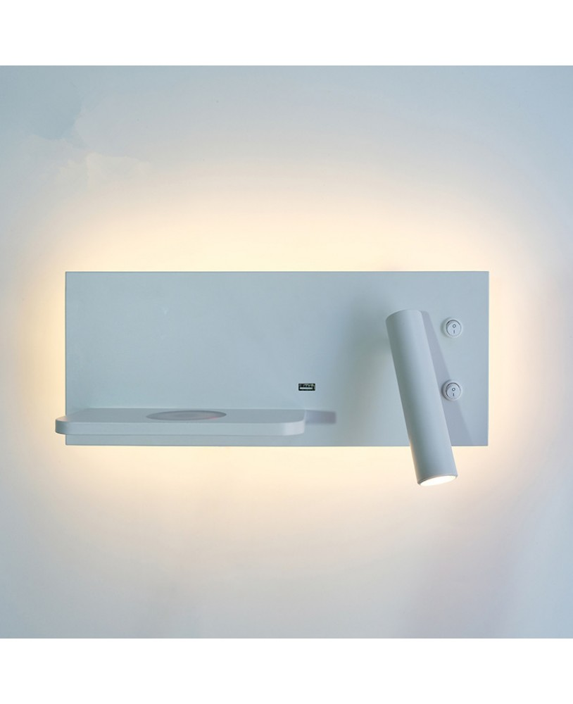 Modern Minimalist White Reading Bedroom Bedside Wall Lamp Led Wireless Charging Living Room Sofa Usb Reading