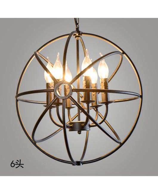RH industrial Lighting Restoration Hardware Vintage Pendant Lamp FOUCAULT IRON ORB CHANDELIER RUSTIC IRON Gyro Loft light