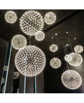 Living room pendant lamp light stainless steel ball led chandelier firework light restaurant villa hotel project pendant lighting