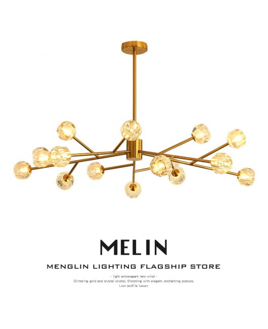 Branch crystal chandelier gold living room dining room luxury lamp fixture