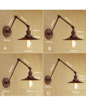 Metal 4 Sizes Wall Lamp Adjustable Arm Iron Lampshade Lights Lighting Fixtures