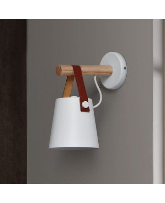 Nordic Simple Iron Wood Belt Wall Lamp LED Lights Lighting Wall Fixtures Sconce
