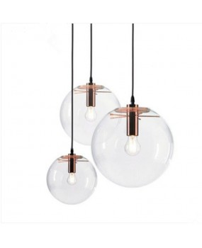 Modern single-head dining room bedroom living room indoor pendant light clear bubble glass ball pendant lamp