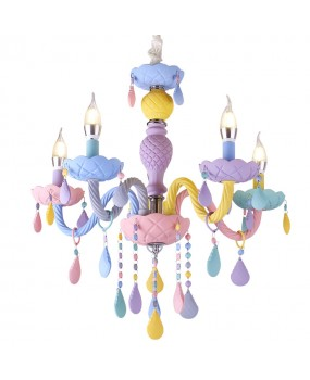 New macaron candle light crystal chandelier lamp fixture children's room bedroom lamp creative lighting color E14 chandelier
