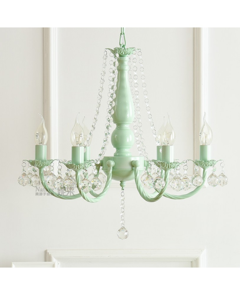 Macaron Nordic ins idyllic Korean pink green chandelier ...