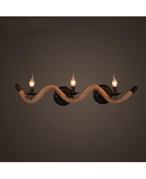 Wavy hemp rope wall lamp Nordic antique fashion stair light twisted wavy rope wall lamp
