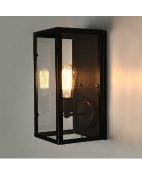 RH vintage glass box wall lamps loft wall light American country wall lamp metal wall light