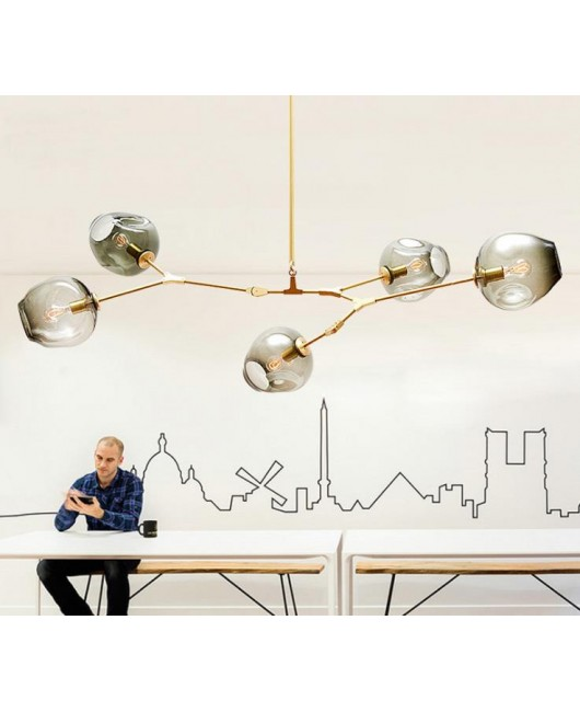 Nordic molecular glass pendant lamp minimalist plated gold/black pendant light Guest house villa bubble ball chandelier