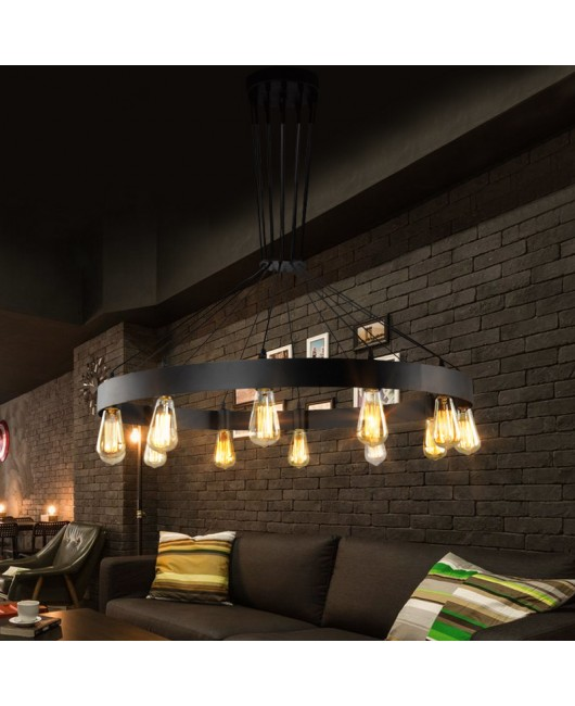 American retro industrial wrought iron round chandelier clothing store coffee restaurant café chandelier