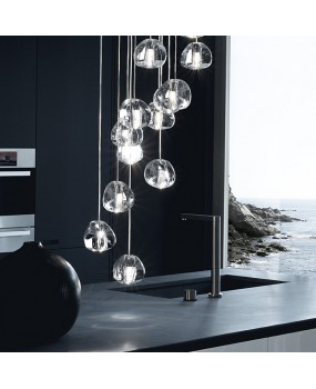 Mizu Light Pendant by Nicolas Terzani Ball Suspension Lamp Chandelier  Transparent Lighting Fixture