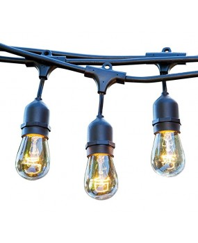 48 FT Weatherproof Outdoor String Lights - 15 Hanging Sockets - Perfect Patio Lights - Commercial Grade - 16 11 Watt S14 Dimmable