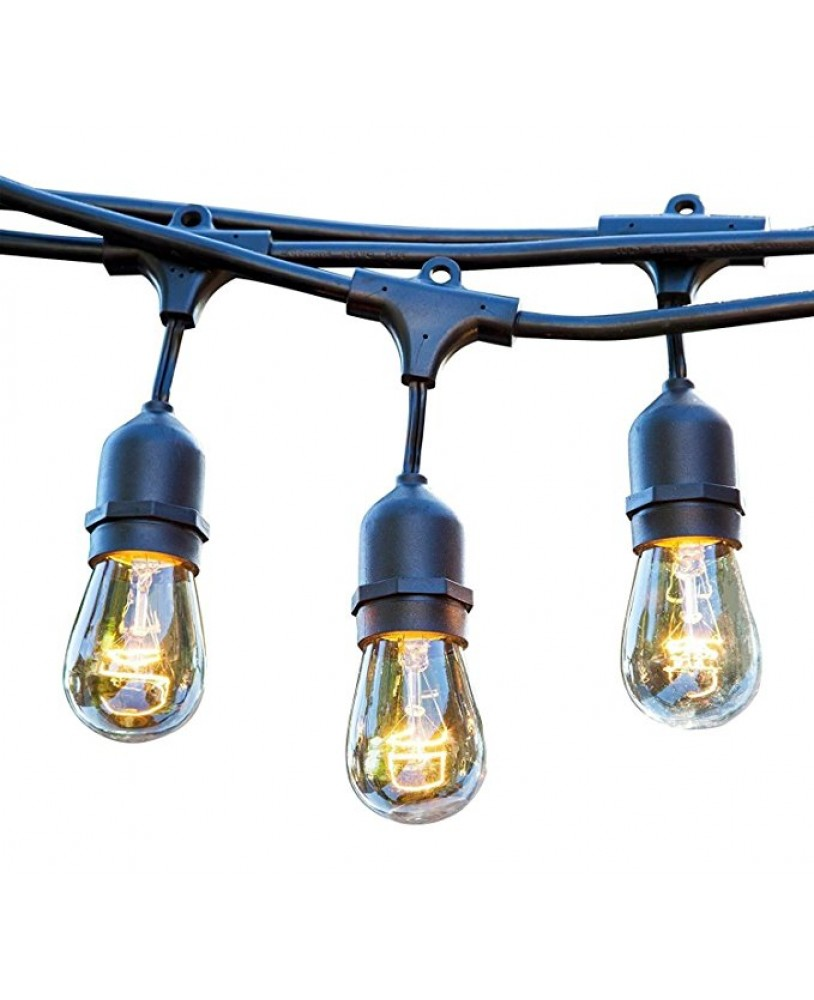 48 FT Weatherproof Outdoor String Lights   15 Hanging Sockets   Perfect Patio  Lights   Commercial Grade   16 11 ...