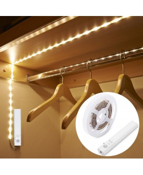 PIR Motion Sensor LED Cabinet light 1m 2m 3m Strip tape Under Bed lamp For Closet Wardrobe Stairs Hallway Battery Power DC 5V