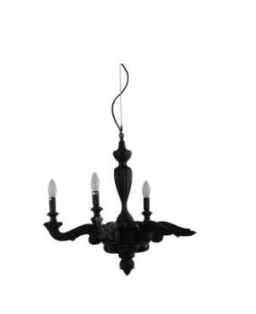 Postmodern Art Creative Black Resin Burning Vintage Broken Arm Chandelier Charcoal Burning Burnt Defected Candle Chandelier