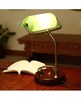 Traditional Antique Brass + Green Bankers Table Office Desk Lamp Lounge Light