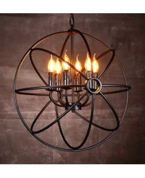 Industrial Round ART pendant Light Fixture Globe Metal Rustic Armillary Sphere