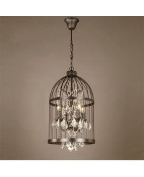 Vintage Iron Black Birdcage Crystal Chandelier Pendant Light Lamp