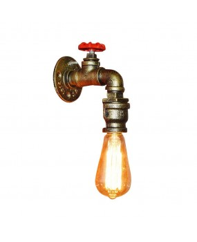 Industrial Retro Vintage Iron Water Pipe Shape Wall Lamp Sconce Light Fixture