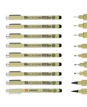 9PCS Sakura Micron Fine Liner Brush Art Drawing Set & Signature Drawing Ink Pens