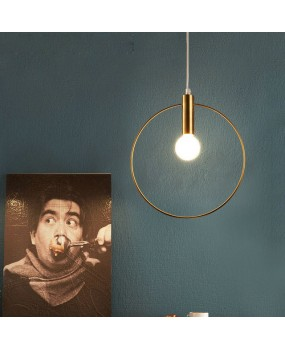 Modern Pendant Light For Lobby Dining Room single ring Arts Decoration lighting Antique Gold suspension Pendant Lamp E14