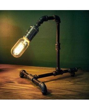 Vintage Retro Industrial Style Steel Pipe Desk Table Lamp Light With Edison Bulb