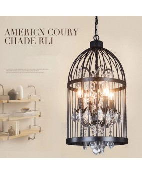 Bird cage bedroom living room restaurant pendant lamp retro creative crystal bird cage chandelier