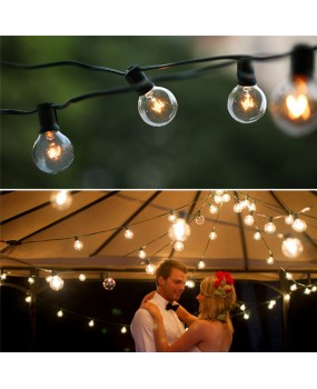 Vintage Patio Garden Light string 25Ft Globe String Lights with 25 G40 Bulbs for Deco,Outdoor lights string for Christmas Party