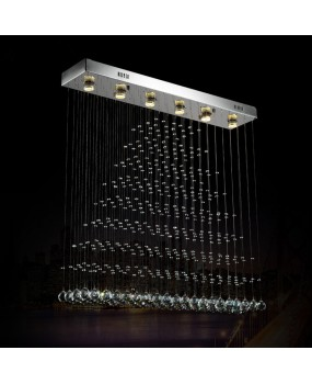 Modern LED Ceiling Light Curtain Partition Living Room Light Pyramid Rectangular Dining Room Restaurant Chandelier