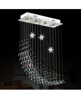 Simple Moon Restaurant chandeliers creative rectangular bedroom chandeliers LED living room crystal lamps