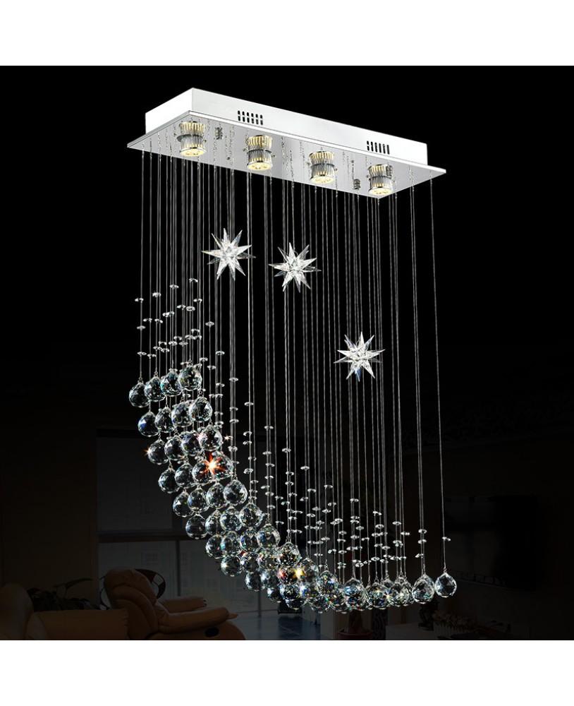 Simple Moon Restaurant Chandeliers Creative Rectangular Bedroom Led Living Room Crystal Lamps