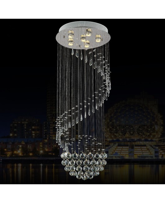 Living room crystal chandeliers spiral staircase lamps creative simple round LED long chandeliers