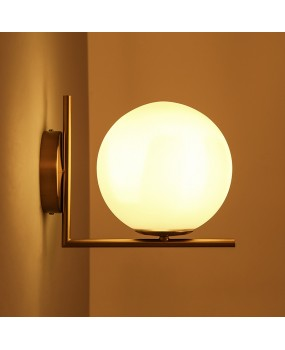 Modern minimalist Nordic bedroom study bedside corridor iron plating glass ball LED wall lamp