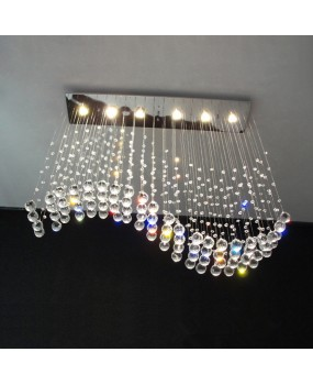 Simple rectangular wave restaurant chandeliers living room crystal lamps LED chandeliers