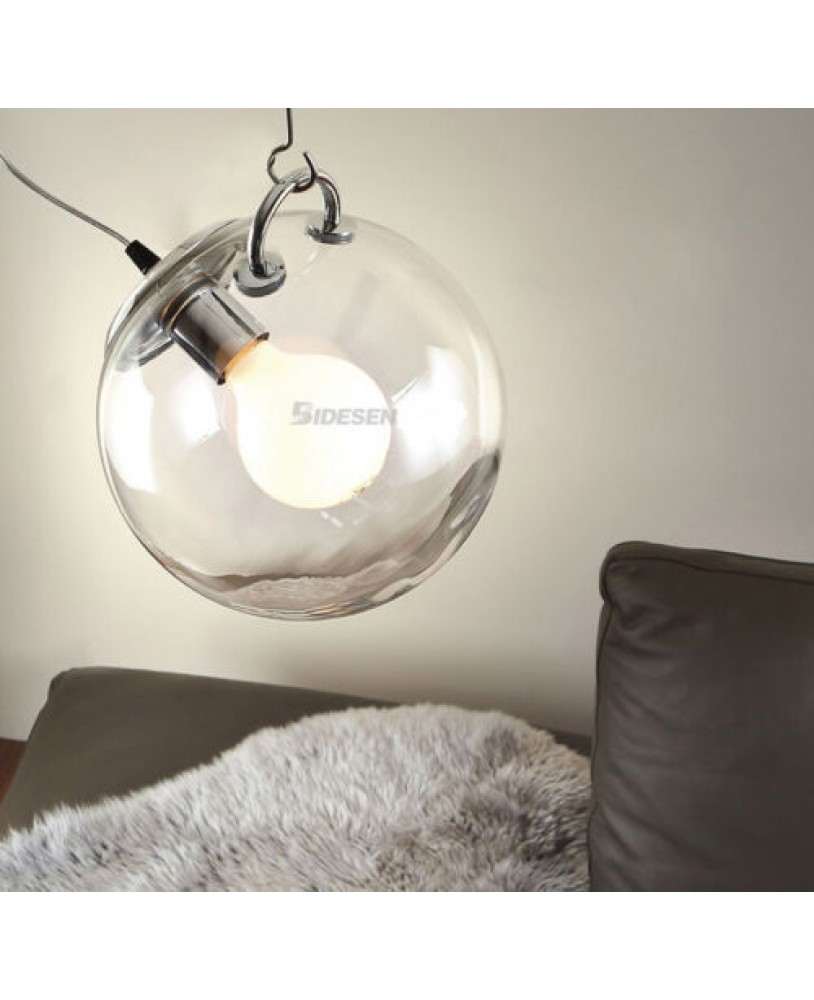 Diy Ceiling Lamp Clear Glass Ball Pendant Lighting Bulb Home Cafe