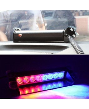 LED Flash Light Car Truck Police Strobe Dash 3 Flashing Mode Red/Blue