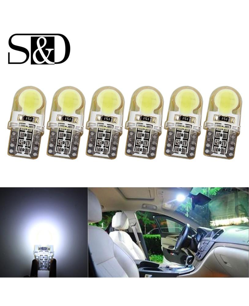 10* White T10 194 168 W5W 8-COB LED Silica White License Plate Light Bulb 12V