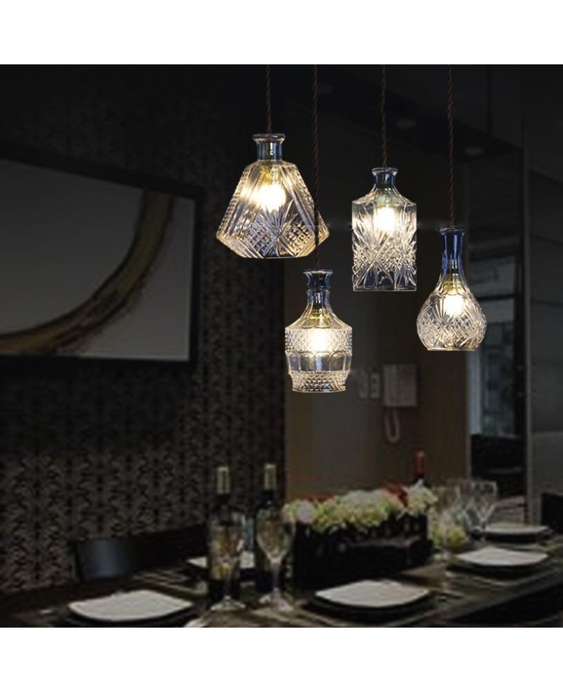 Modern Minimalist Vintage Wine Bottle Pendant Lights CafeRoom/Bar Lamp  Single Glass Pendant Lamps Decoration Indoor ...