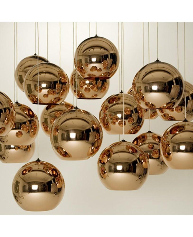 Plated Gl Ball Chandelier Modern Art Lighting Plating Lights Silver Golden Bronze Lamp