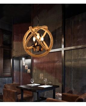 Retro Rope Pendant Lights Loft Vintage Lamp Restaurant Bedroom Diningroom Pendant Lamp Hand Knitted Hemp Rope Light